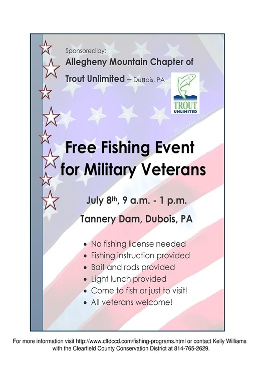 Free fishing event for military veterans july 8 2017 for Free fishing day 2017 pa